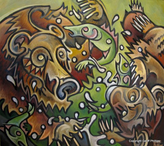 arts-quest-geoff-phillips-two-grizzly-and-three-salmon