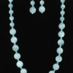 Aquamarine necklace and ear rings with Swarovsky crystal