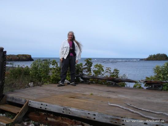 Ellen at her Lake Superior backyard