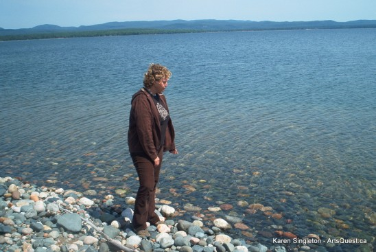 Karen Singleton in her backyard on Batchawana Bay, Lake Superior, Ontario