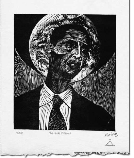 Barack Obama - Linocut