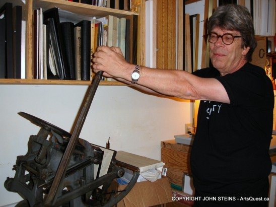 John Steins operating his Chandler & Price Letterpress
