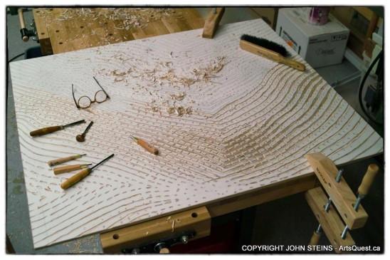Mona Lisa Smile woodcut in progress