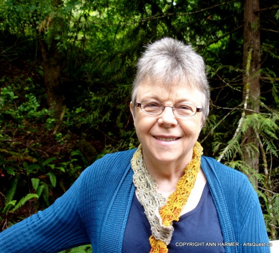 Ann Harmer Wearing One of Her Crocheted Scarves Coloured with Various Mushroom Dyes