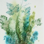 Salmonberry leaves - watercolour using salt