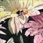 "Watercolour Batik on Ginwashi paper12x36"" batik mounted on canvas"