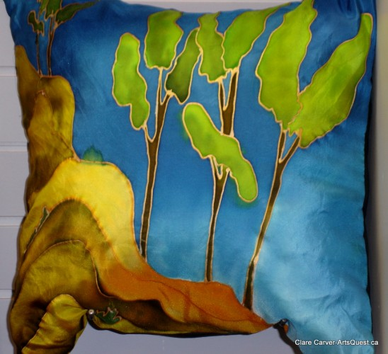 Painted Silk Pillow