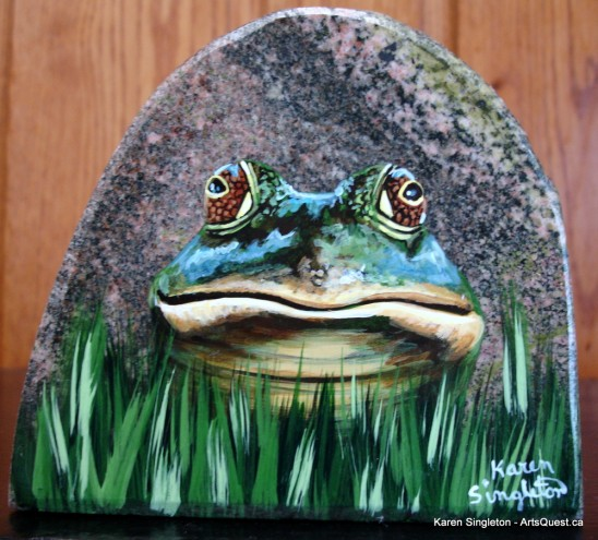 arts-quest-karen-singleton-rock-painting-frog