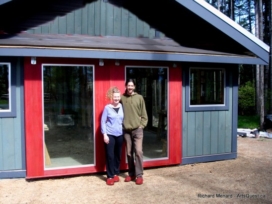 Shari and Richard in front of Richard's handiwork; their new studio.