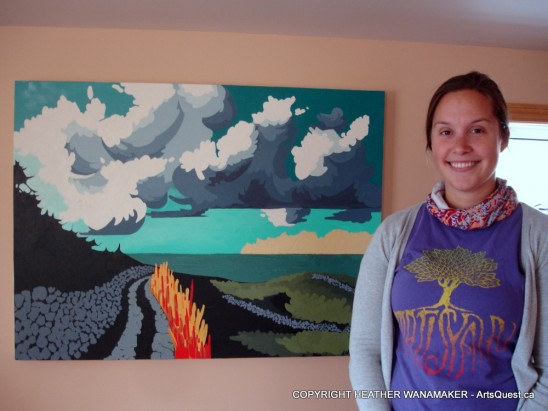 "Heather Wanamaker beside ""Cape Clear"" - acrylic on canvas"
